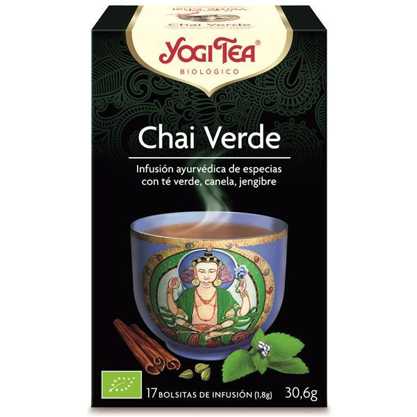 YOGI TEA - Infusão bio chai chá verde Deliciosa infusão biológica chai com chá verde, hortelã, gengibre, cardamomo e outras especiarias. Delicado, perfumado e suave, o Yogi Tea® Green Chai é uma alternativa leve e refrescante ao sabor rico e forte do tradicional Black Chai.