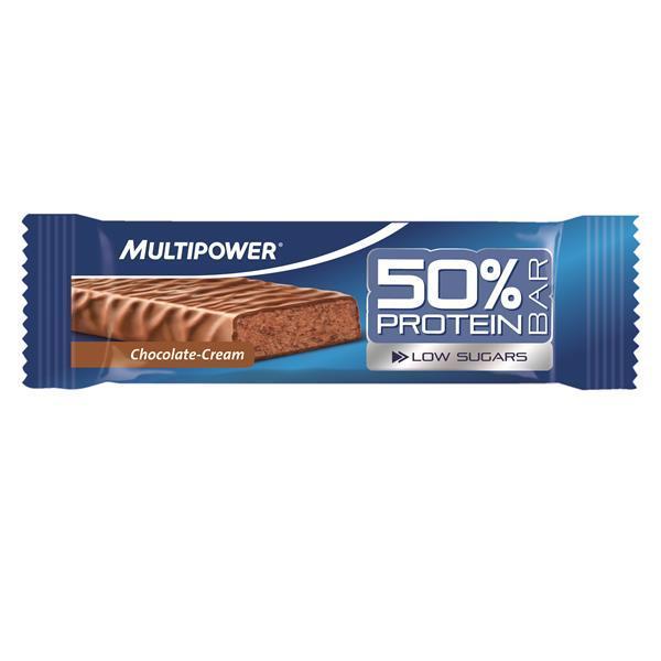 Barra proteica Multipower Barra proteica Multipower - Com baixo teor de açúcares, alto teor em proteínas BARRA PROTEICA COM COBERTURA DE CHOCOLATE DE LEITE. CONTÉM EDULCORANTES.